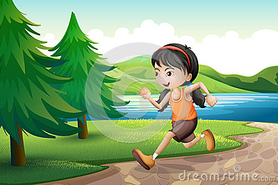 A girl running near the riverbank with pine trees