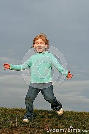 Free Girl Running On Grass Hill Stock Photo - 4005090