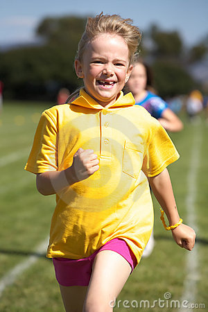Girl running in sports race