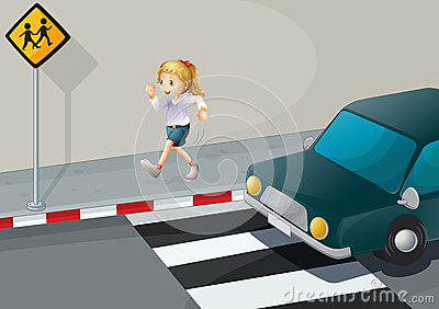 A girl running at the streetside