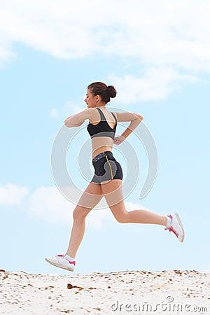 The girl runs
