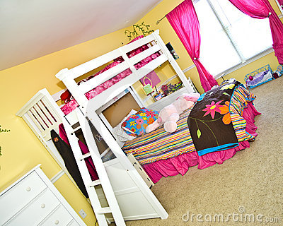 Royalty Free Stock Photos: Girl's Bedroom with Bunk Bed