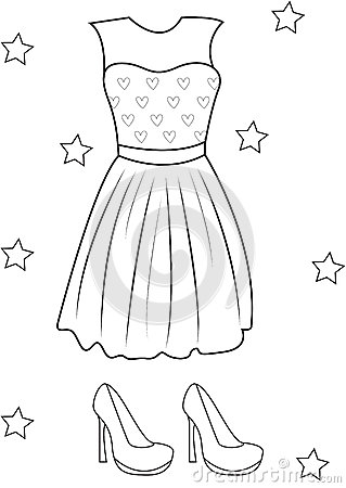 dress shoe coloring pages - Coloring Pages Girls Dresses