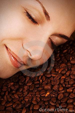 Free Girl S Face Over Coffee Beans Stock Photography - 3535612