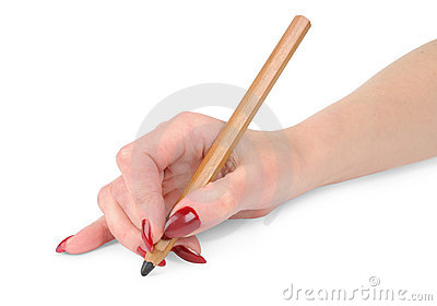 Girl s hand with the pencil