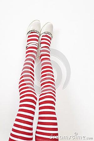 Girl`s legs wearing white