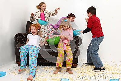 Girl s Slumber Party Sleepover Having Food Fight
