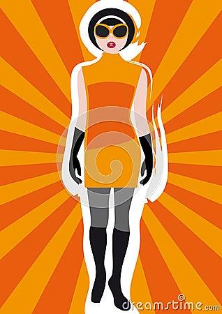 Free Girl S Vintage Clothing On Sunburst Background 1 Stock Image - 7897801