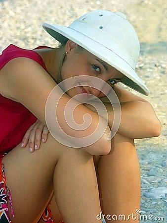 Girl in safari hat