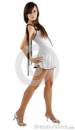 Girl sagging back in short dress, side view
