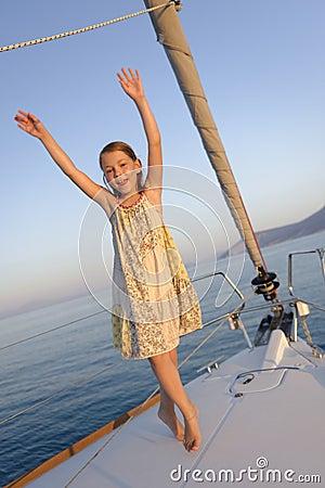 Girl on sailboat deck