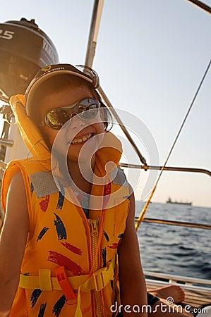 Girl on sailing boat