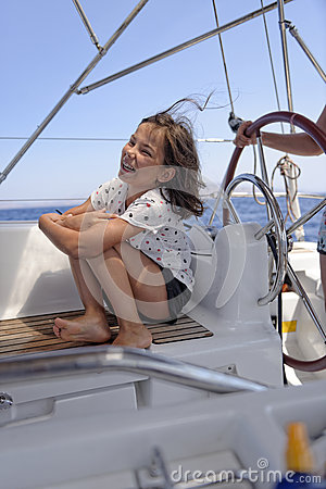 Girl on a sailing boat