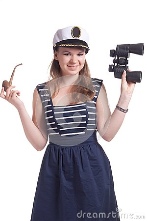 A girl in a sailor cap