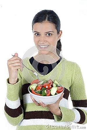 Girl with salad