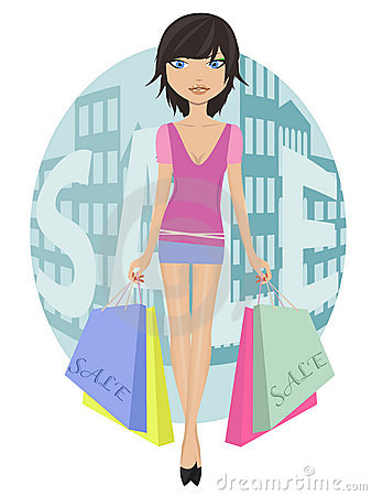 Girl with sale bags