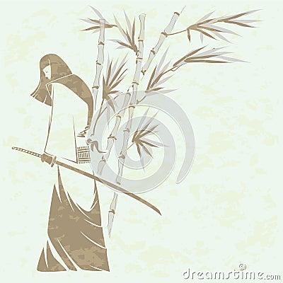 Free Girl Samurai Sword Stock Photo - 18434410
