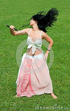 Girl with samurai sword.