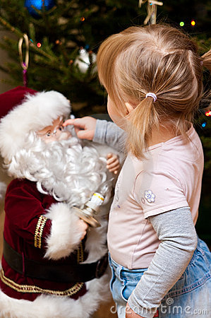 Girl and Santa Claus