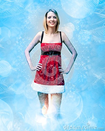Girl in santa claus clothes on snow pattern