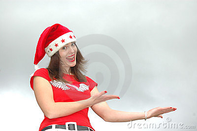 Girl in Santa Claus hat