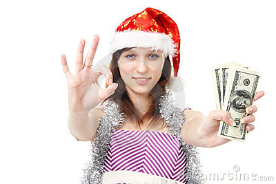 Girl Santa Claus offers money
