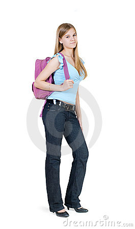 The girl with a satchel