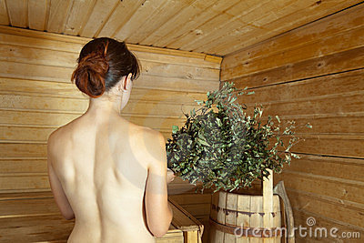 Girl in the sauna
