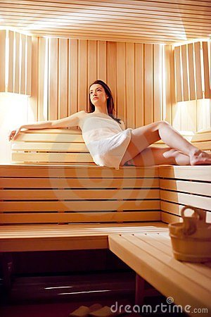 Girl in the sauna