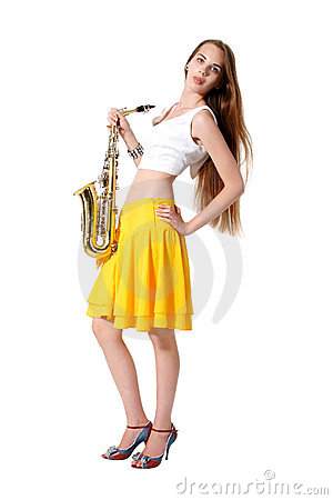 Girl with a sax musical instrument