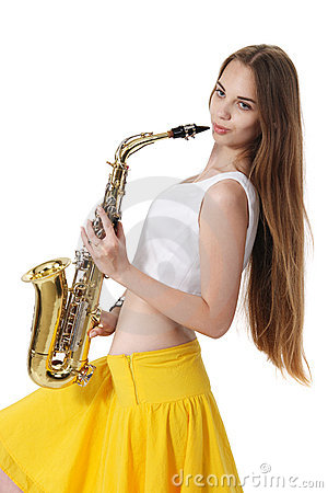 Girl With A Sax Musical Instrument Stock Images - Image: 20694174