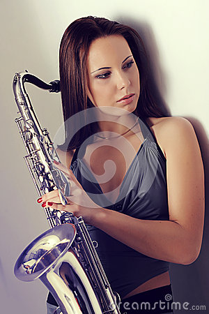 Girl and a saxophone