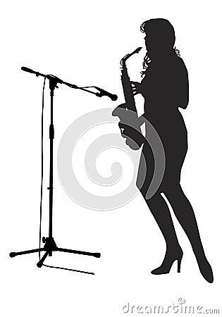 Girl saxophonist