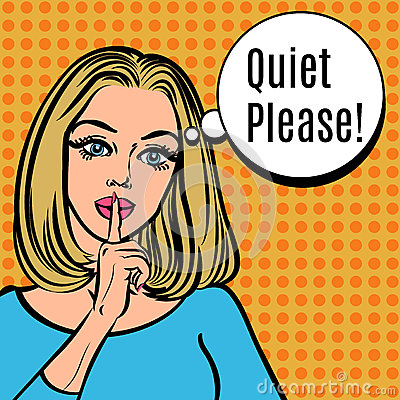 Free Girl Says Quiet Please! Vector Retro Woman With Silence Sign Stock Photo - 62669820