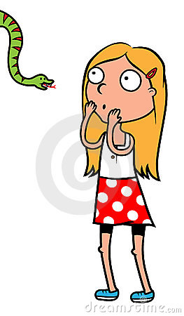 Girl scared of snakes