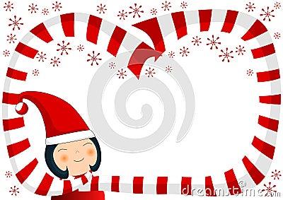 Girl with Scarf and Snowflakes Christmas Border