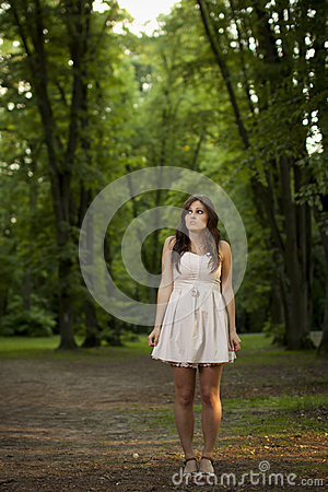 Girl in scary forest