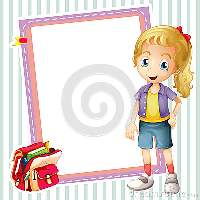 Girl, school bag and white board