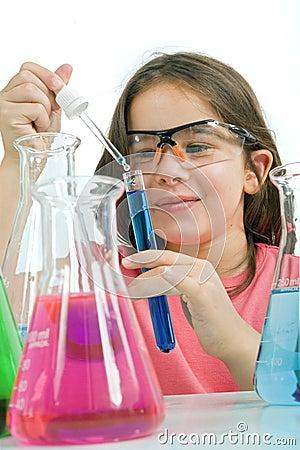 Girl in science class