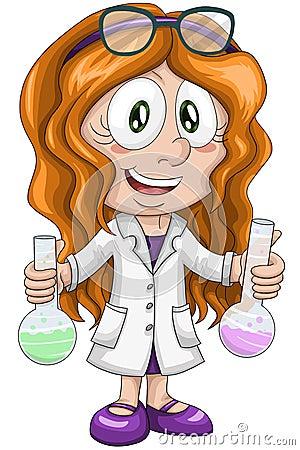 Girl scientist chemist character cartoon style  illustration