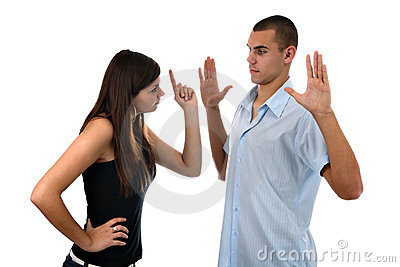 Girl scolding boy isolated on white