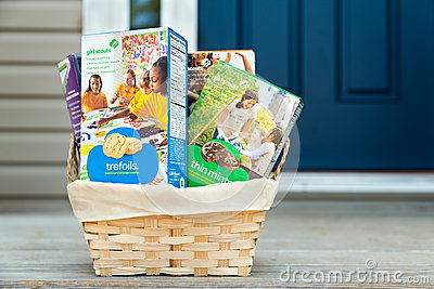girl scout cookies delivered editorial image   image 39838500