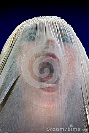 Free Girl Screaming Behind The Veil Stock Images - 62961384