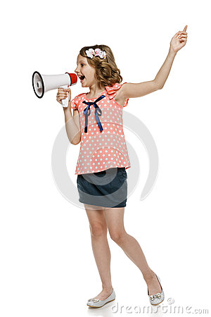 Girl screaming into megaphone