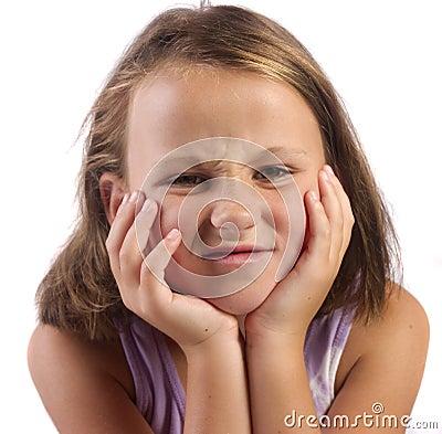 Girl scrunching her face