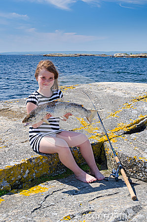 Girl sea fishing