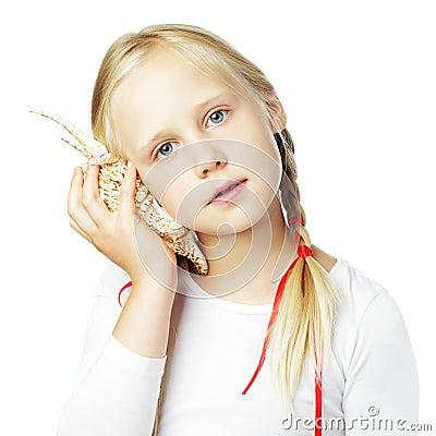 Girl with sea shell