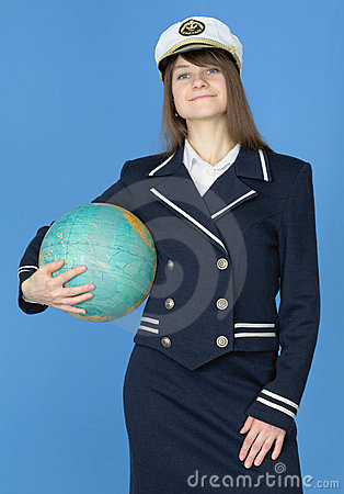 Girl in sea uniform with globe