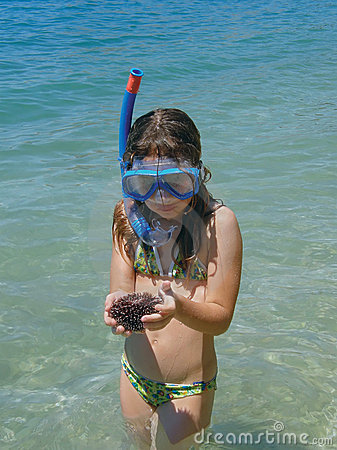 Girl with sea urchin