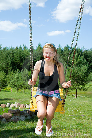 The girl on a seesaw